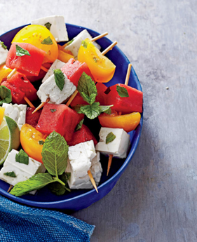 Featured Recipe: Tomato, Watermelon, and Feta Skewers